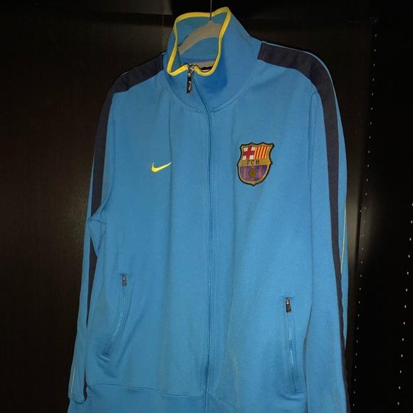 Nike Jackets Coats Fc Barcelona Blue And Neon Track Jacket Sz L Poshmark